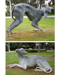 507-Pareja de esculturas de exterior. grandes galgos en metal pavonado En diferentes posturas.