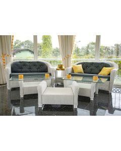 505-Conjunto de jardín en mimbre pintado en blanco formado por: pareja de sofás. dos mesitas de centro. una mesita auxiliar y un reposapiés.