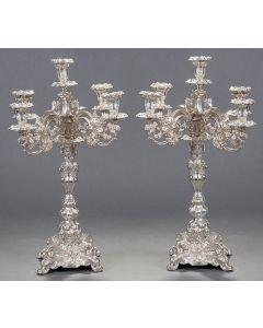 709-Gran pareja de candelabros de 5 luces en plata de ley 900. Convertibles en candeleros.